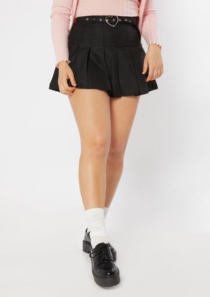 black heart buckle belt pleated skirt - Main Image