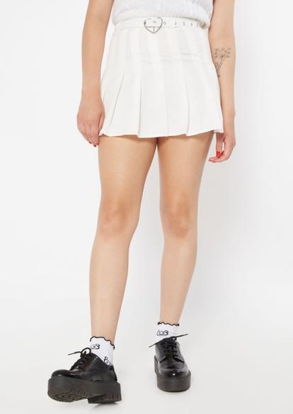 white heart buckle belt pleated skirt - Main Image