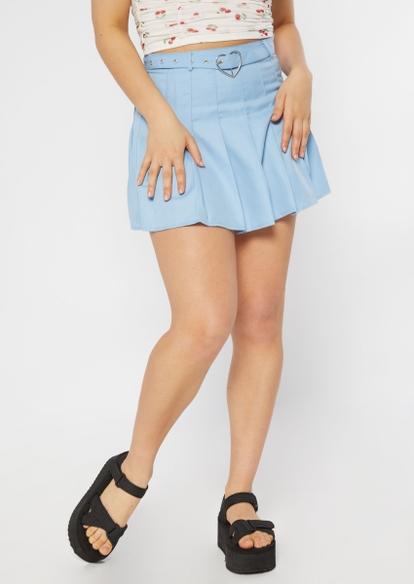 light blue heart buckle belt pleated skirt - Main Image