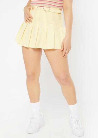yellow heart buckle belt pleated skirt - Main Image