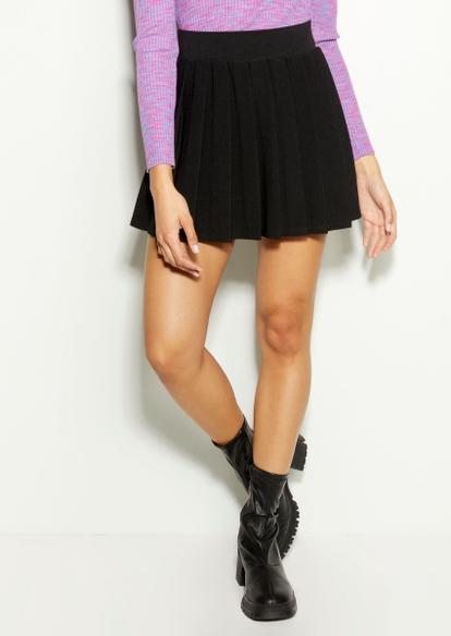 black pleated skater skirt - Main Image