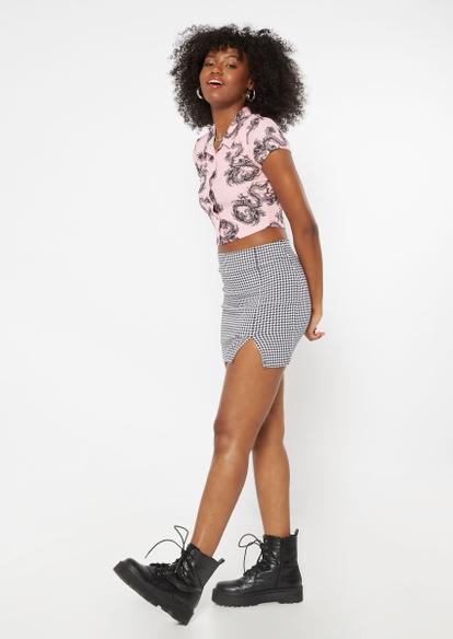 houndstooth print thigh slit mini skirt - Main Image