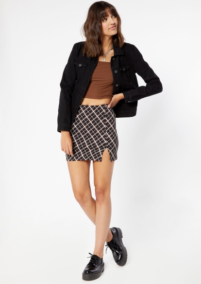 brown plaid side slit mini skirt - Main Image