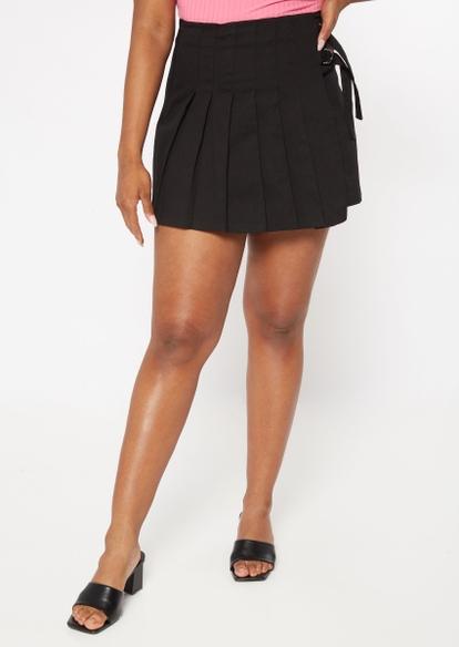 black side buckle pleated skirt - Main Image