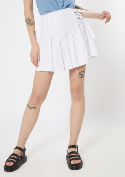 white side buckle pleated skirt - Main Image