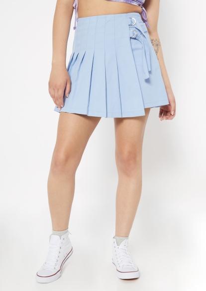 light blue side buckle pleated skirt - Main Image