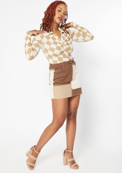 brown patchwork mini skirt - Main Image