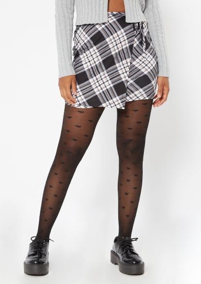 black plaid print wrap skirt - Main Image