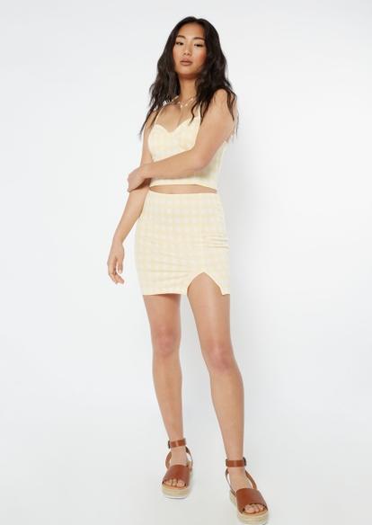 yellow gingham plaid print thigh slit mini skirt - Main Image