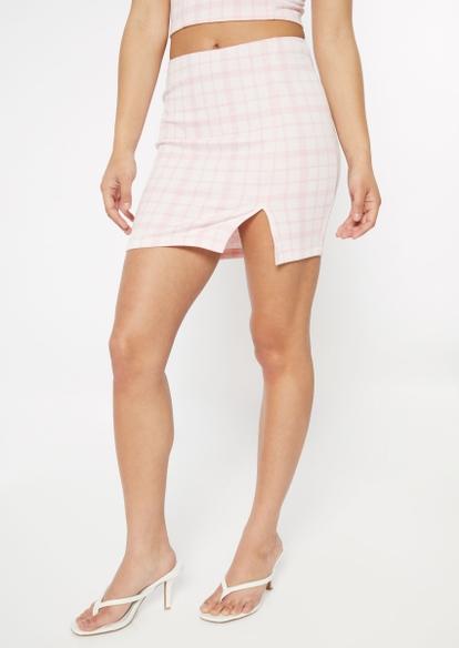 pink plaid print thigh slit mini skirt - Main Image