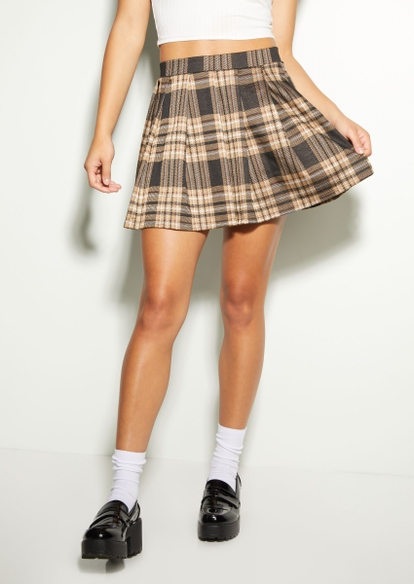 taupe brown plaid pleated skirt - Main Image