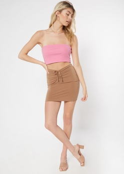 brown ruched front mini bodycon skirt - Main Image