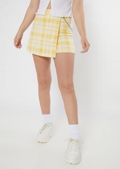 yellow plaid print chain skort - Main Image