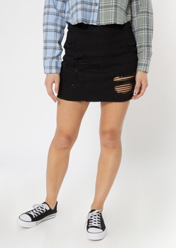black ripped jean skirt - Main Image