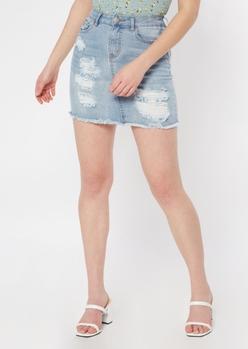 light wash ripped jean skirt - Main Image