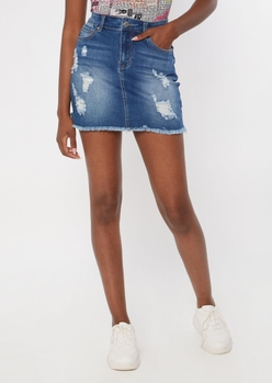 medium wash ripped jean skirt - Main Image