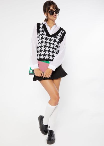 black ruffle pleated hem jean mini skirt - Main Image