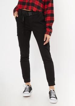 black utility belted cargo jogger pants - Main Image