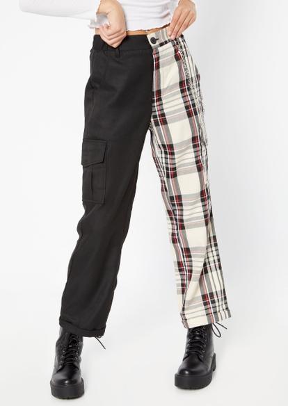 black colorblock plaid wide leg cargo pants - Main Image