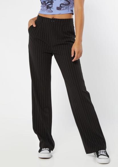 black pinstripe wide leg pants - Main Image