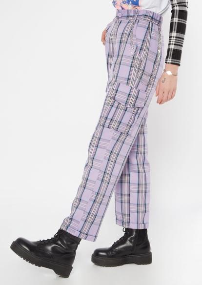 purple plaid wide leg cargo pants - Main Image