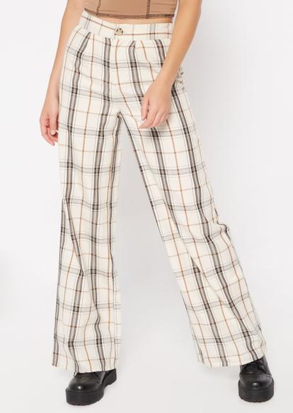 brown plaid wide leg pants - Main Image