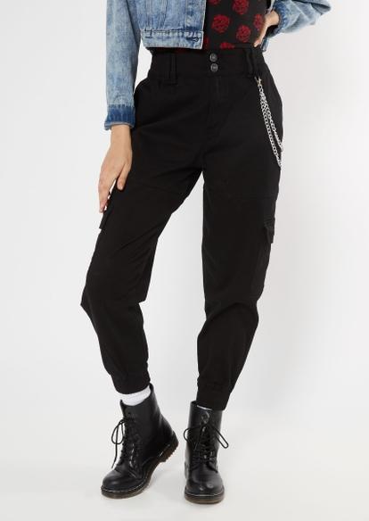black chain belt cargo pants - Main Image