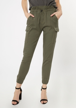 olive green paperbag waist cargo joggers - Main Image