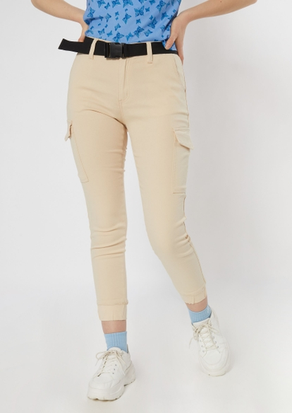 khaki skinny cargo jogger pants - Main Image