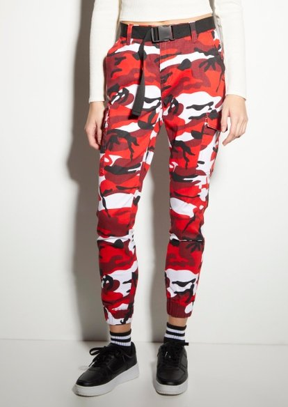 red camo print cargo utility belted joggers - Main Image