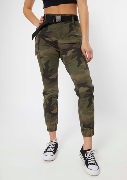 camo print cargo utility belted joggers - Main Image