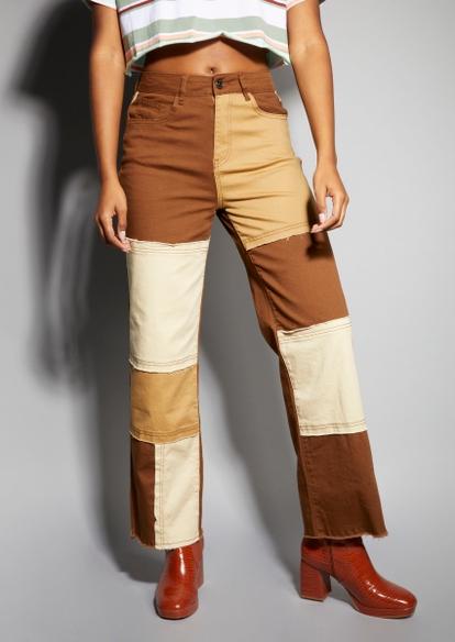 brown colorblock patch pants - Main Image