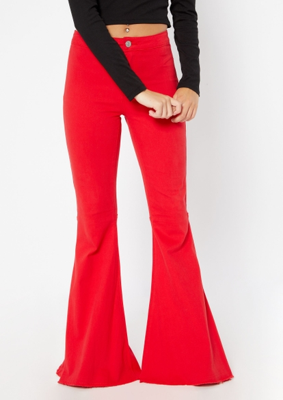 red high rise mega flare pants - Main Image