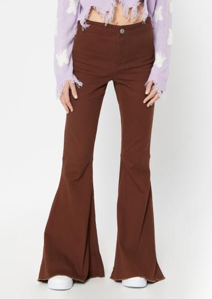brown high rise mega flare pants - Main Image