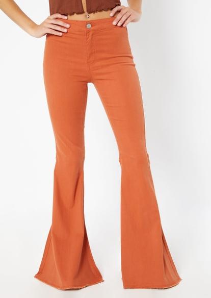 cognac high rise mega flare pants - Main Image