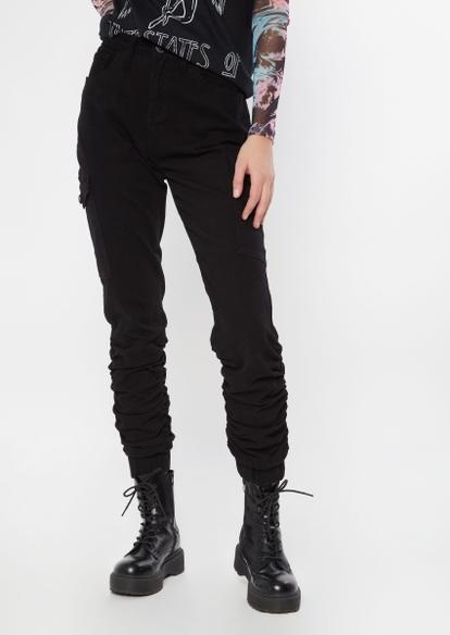 black ruched leg twill cargo joggers - Main Image