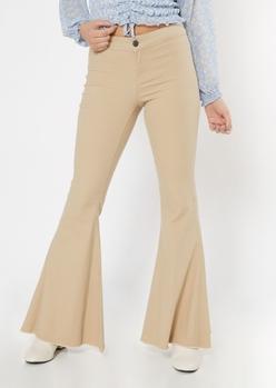 khaki wide flare pants - Main Image