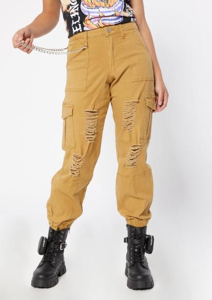 khaki ripped belt chain cargo joggers - Main Image