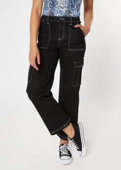 black straight leg cargo pants - Main Image