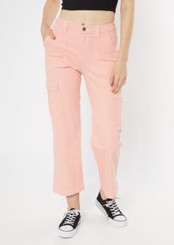 pink wide leg cargo pants - Main Image