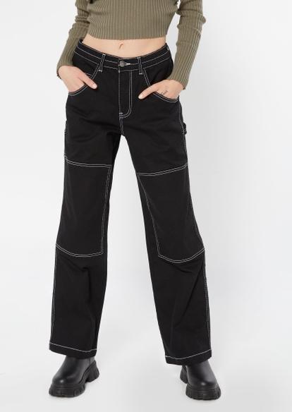 black contrast stich carpenter pants - Main Image
