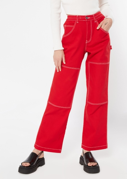 red contrast stich carpenter pants - Main Image