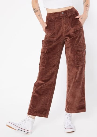 brown corduroy wide leg pants - Main Image