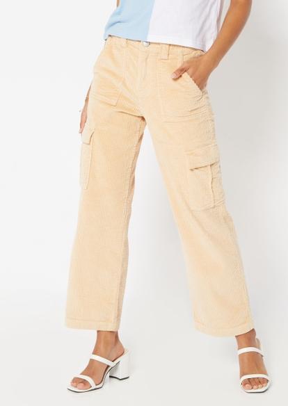 khaki corduroy wide leg pants - Main Image