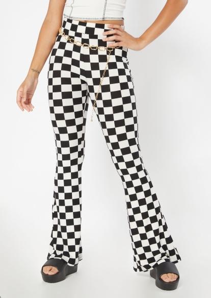 checkered print super soft flare pants - Main Image
