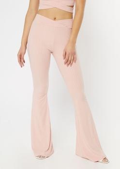 pink v waist ribbed flare pants - Main Image