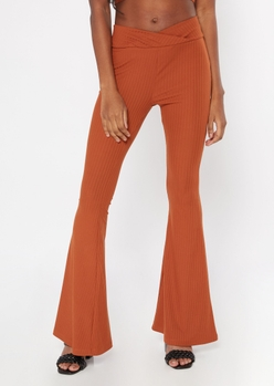 burnt orange v waist ribbed flare pants - Main Image