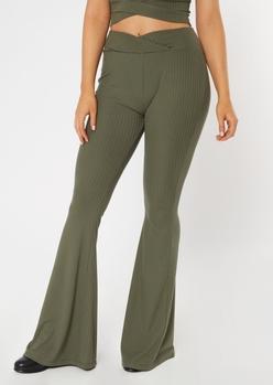olive v waist ribbed flare pants - Main Image