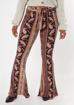 black border stripe print super soft flare pants - Main Image