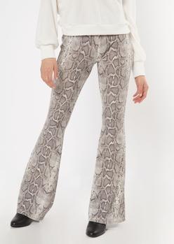 snake print hacci flare pants - Main Image